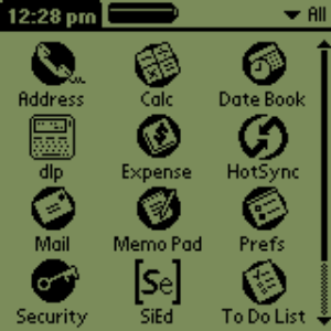 PalmPilot screen with DLPilot Icon